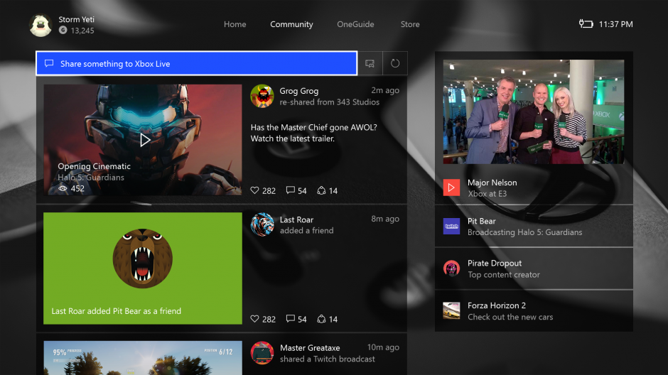Image of the Community section in the New Xbox One Experience
