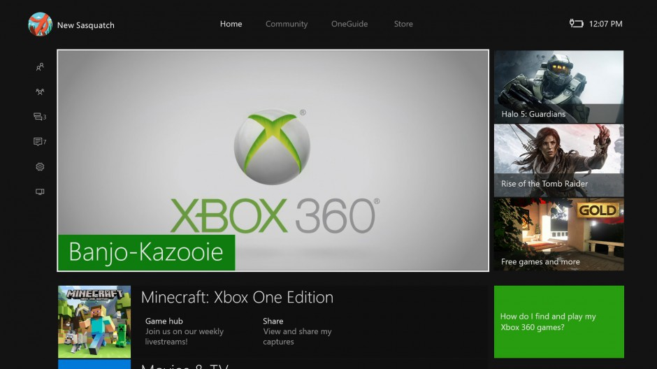 Image of the new Xbox One Home in the New Xbox One Experience