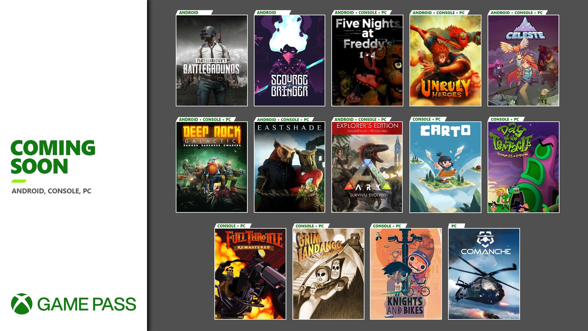 Xbox Game Pass Coming Soon November 2020