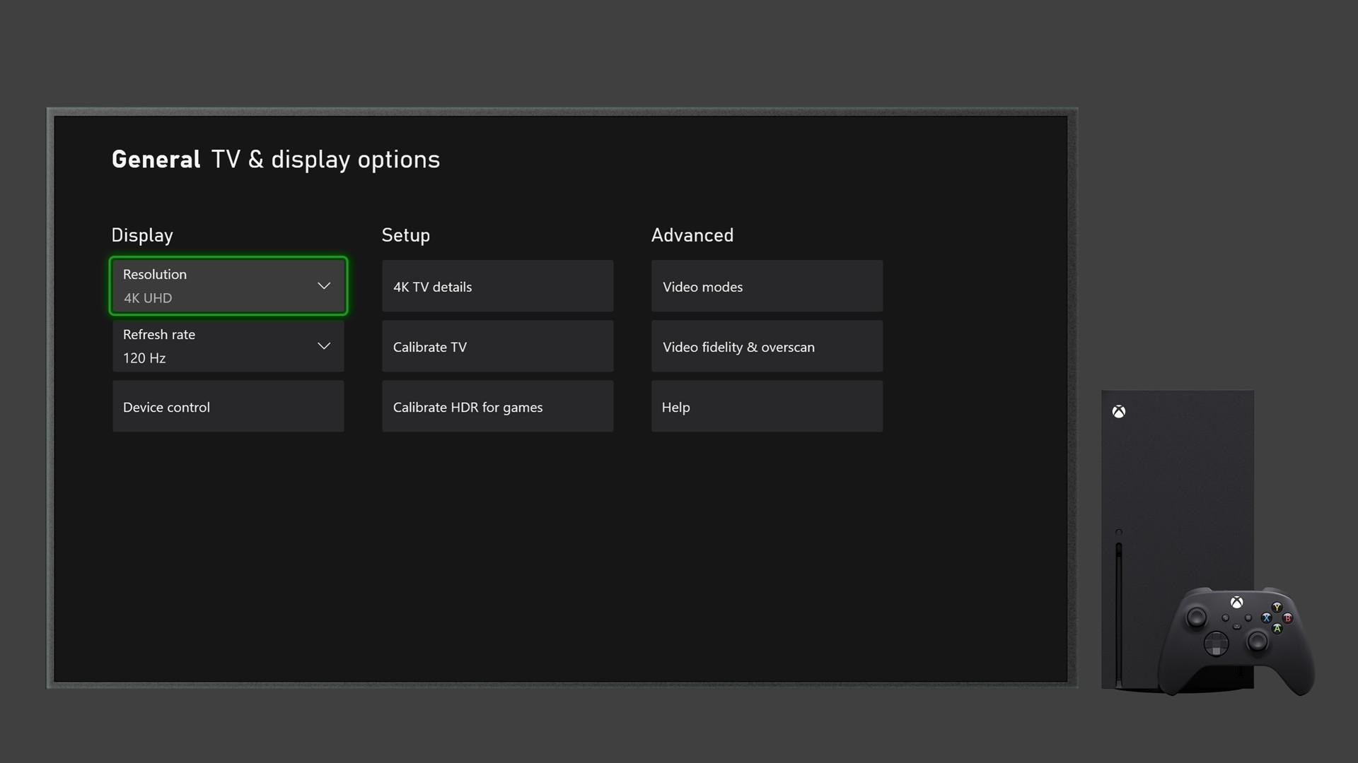 Xbox Series X|S TV Settings