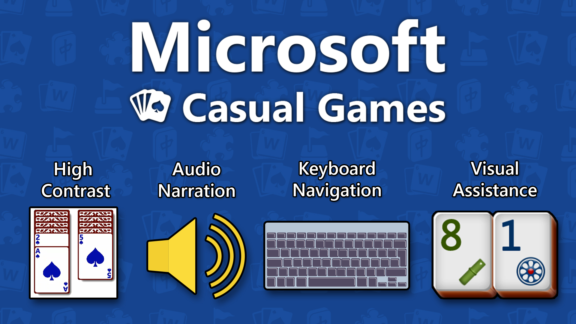 The Microsoft Casual Games logo with four graphics representing High Contrast, Audio Narration, Keyboard Navigation, and Visual Assistance.