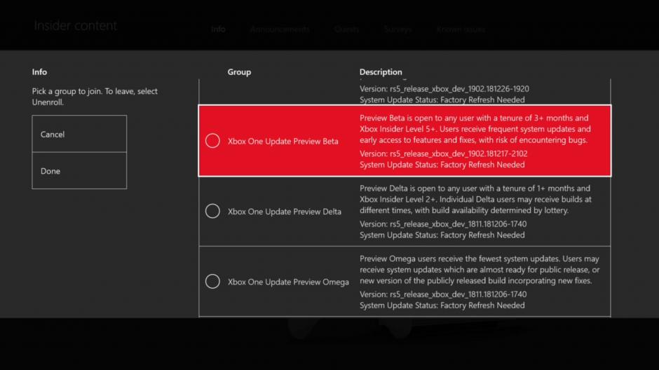 Beta System Update