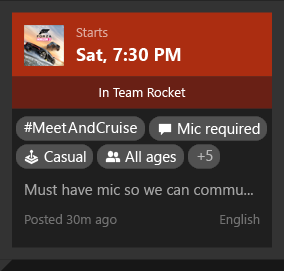 Looking for Group Activity Feed on Xbox One