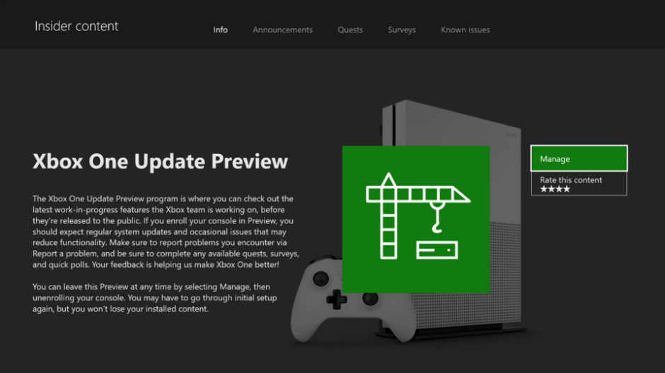 Xbox One Update Preview