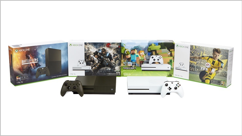 Picture of various Xbox One S bundles available this holiday