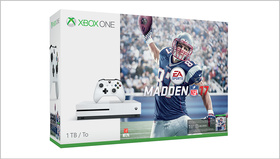 Front box shot of the Xbox One S Madden NFL 17 Bundle