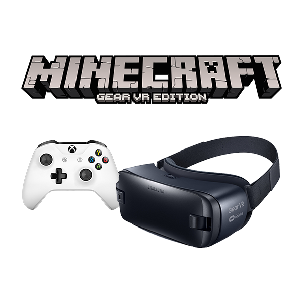 Photo of Minecraft logo with Xbox Wireless Controller and Samsung Gear VR
