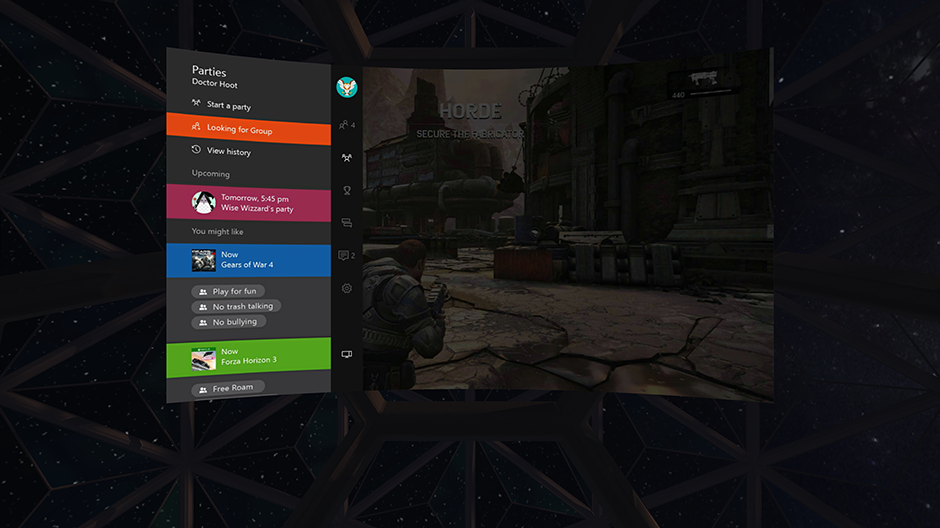 Gears of Wars 4 Rift Streaming Close View Menu