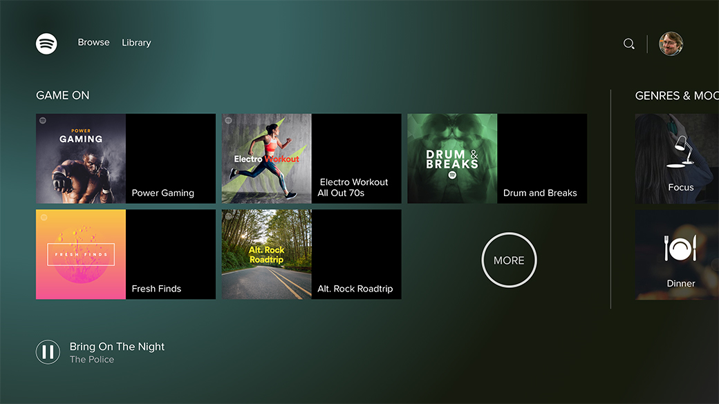 Spotify UI on Xbox One