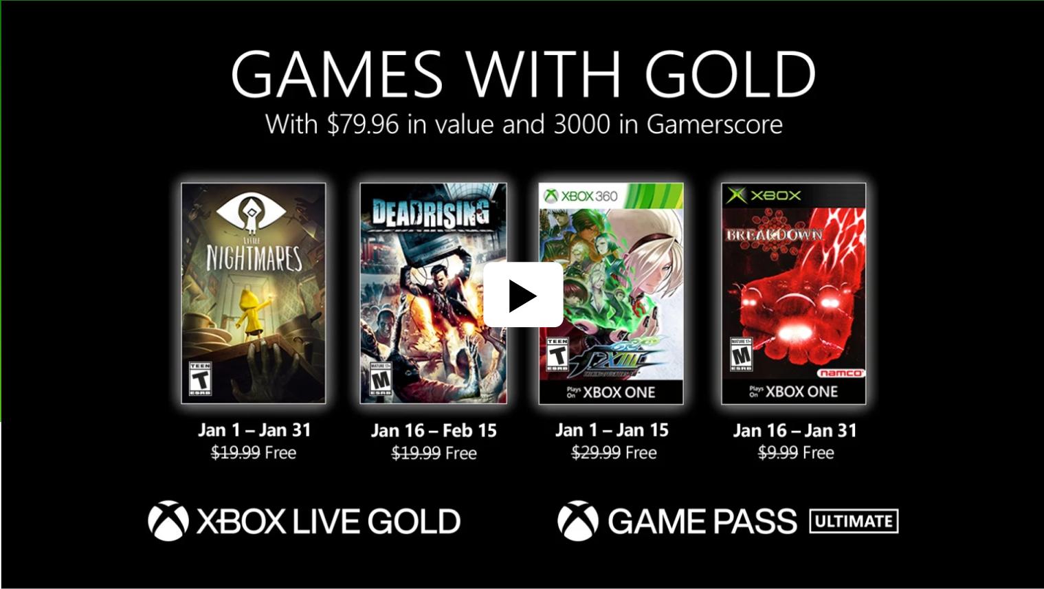 Video For Novedades de Games with Gold para enero de 2021